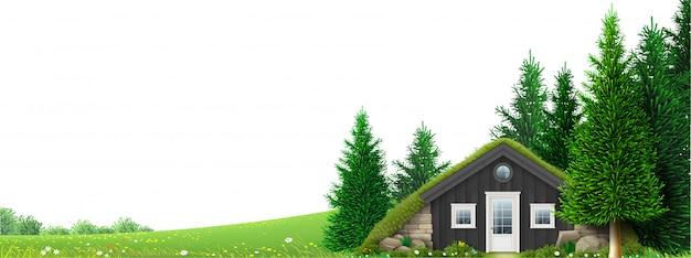 Bannerhut op rand van het bos Premium Vector