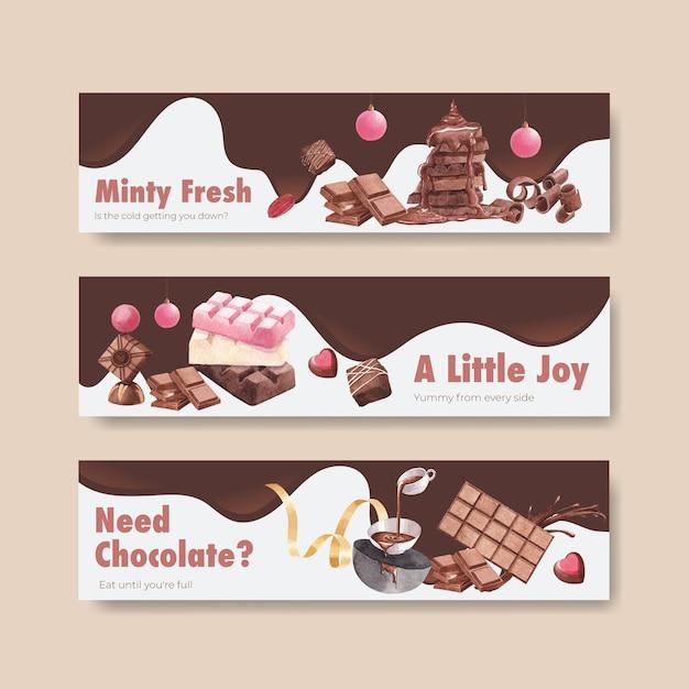 Bannermalplaatje met chocoladewinter Gratis Vector
