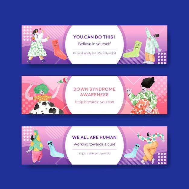 Bannermalplaatje met conceptontwerp van de wereld down syndroom dag voor adverteren en marketing aquarel illustratie Gratis Vector