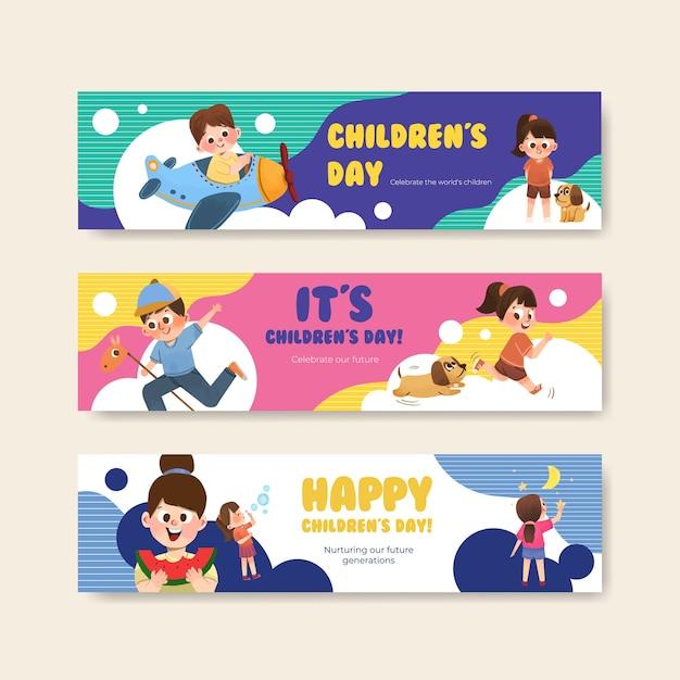 Bannermalplaatje met conceptontwerp voor kinderdag Gratis Vector