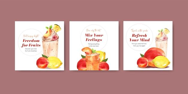 Bannermalplaatje met fruit smoothies concept Gratis Vector