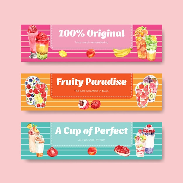 Bannermalplaatje met fruit smoothies Gratis Vector
