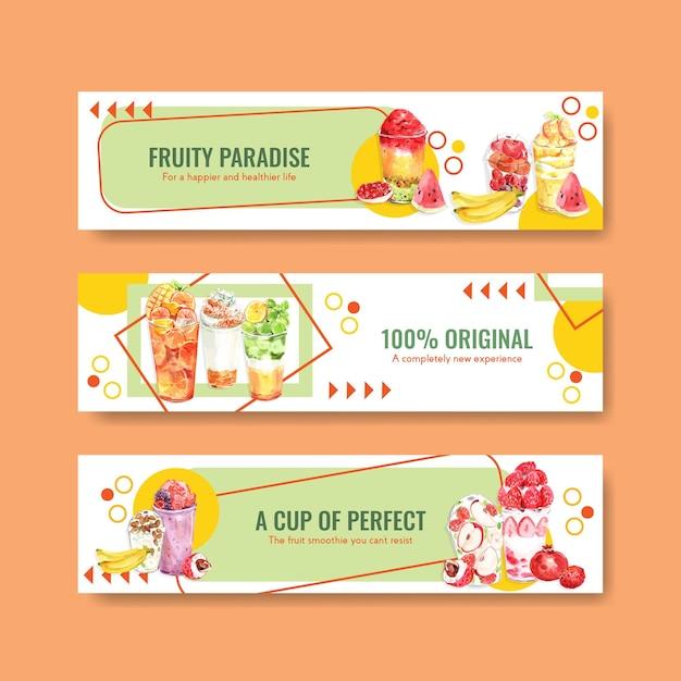 Bannermalplaatje met fruit smoothies Gratis Vector