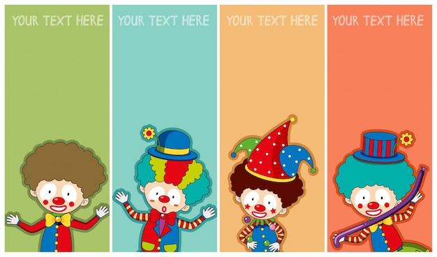 Bannermalplaatje met gelukkige clowns Gratis Vector