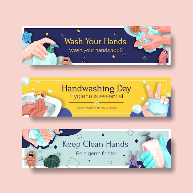 Bannermalplaatje met globaal conceptontwerp van de handwasdag voor reclame en marketing van waterverf Gratis Vector