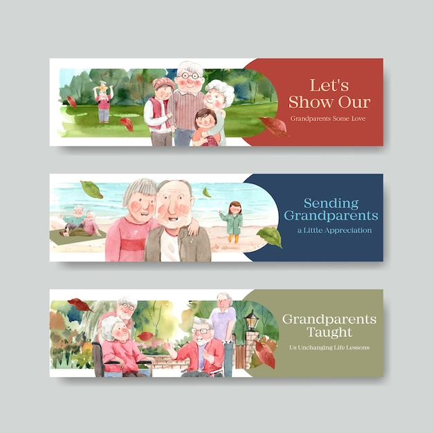 Bannermalplaatje met het conceptontwerp van de nationale grootoudersdag voor brochure en folderwaterverf. Gratis Vector