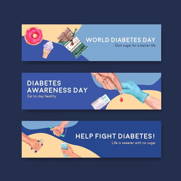 Bannermalplaatje met het conceptontwerp van de werelddiabetesdag voor adverteren en marketing van waterverf vectorillustratie. Gratis Vector