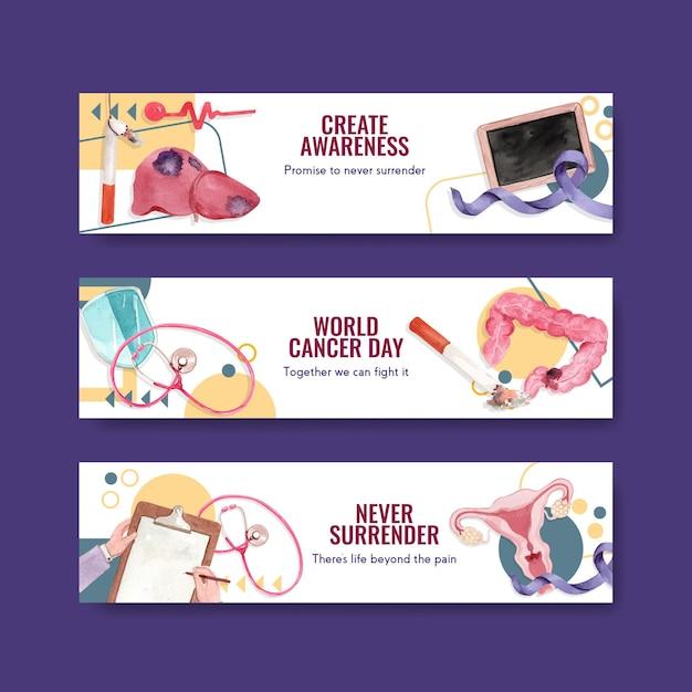 Bannermalplaatje met het conceptontwerp van de wereldkankerdag voor adverteren en marketing van waterverf vectorillustratie. Gratis Vector