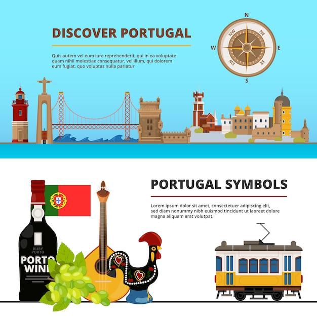 Bannermalplaatje met illustraties van portugese culturele voorwerpen wordt geplaatst die Premium Vector