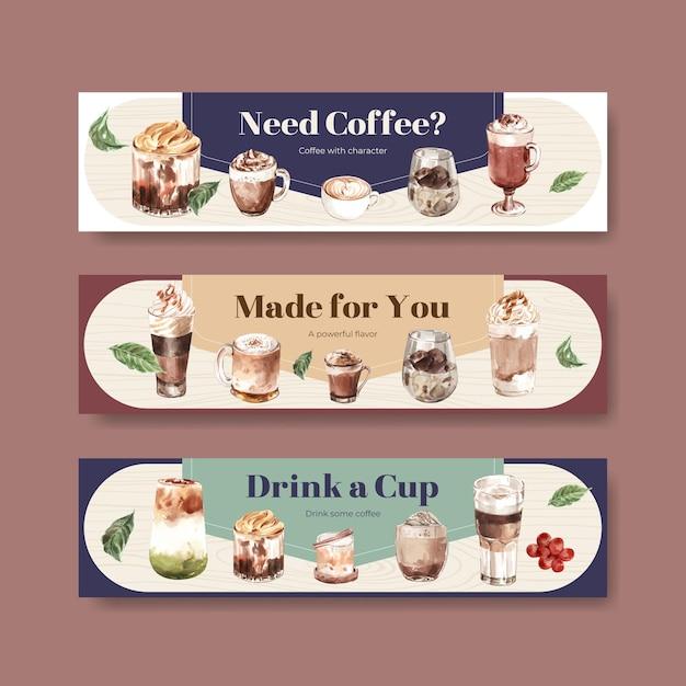 Bannermalplaatje met koreaans koffiestijlconcept voor adverteren en marketing van waterverf Gratis Vector