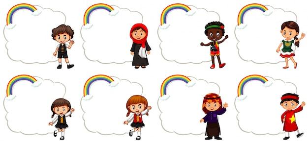 Bannerontwerp met kinderen en regenboog Gratis Vector