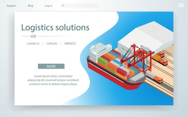 Bannerpagina logistieke oplossingen op vrachtschip. Premium Vector