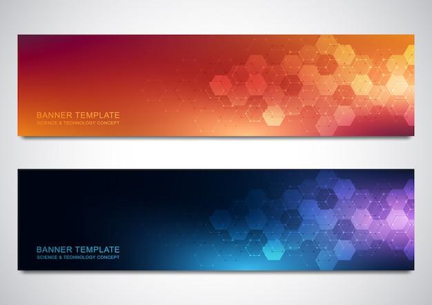 Banners en headers voor site met medische achtergrond en zeshoeken patroon Premium Vector
