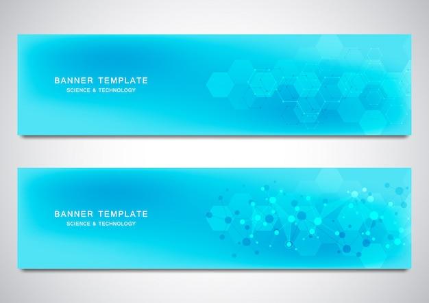 Banners en headers voor site met moleculenachtergrond en neuraal netwerk. Premium Vector