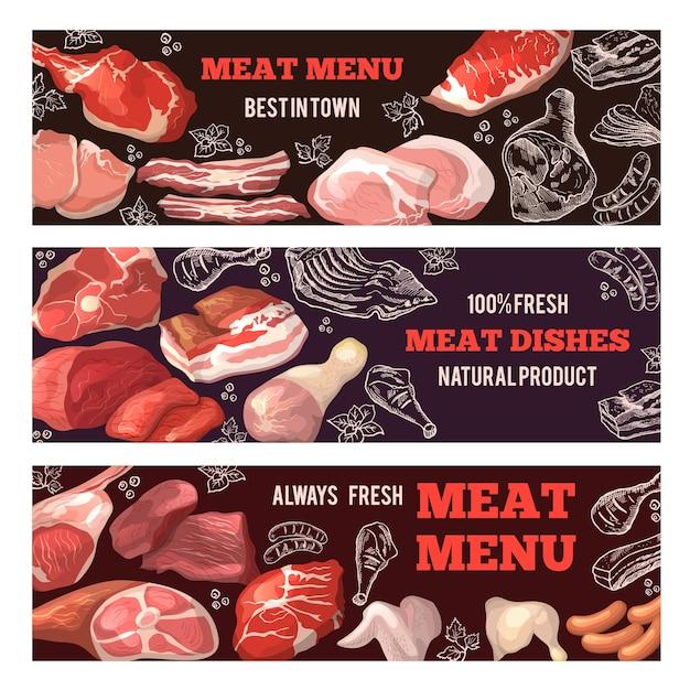 Banners met afbeeldingen van vlees. brochure sjabloon voor slagerij. set poster met voedsel vlees, varkensvlees en rundvlees. illustratie Premium Vector