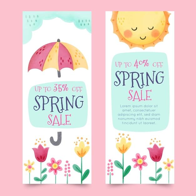 Banners met kleurrijke lente-elementen Gratis Vector