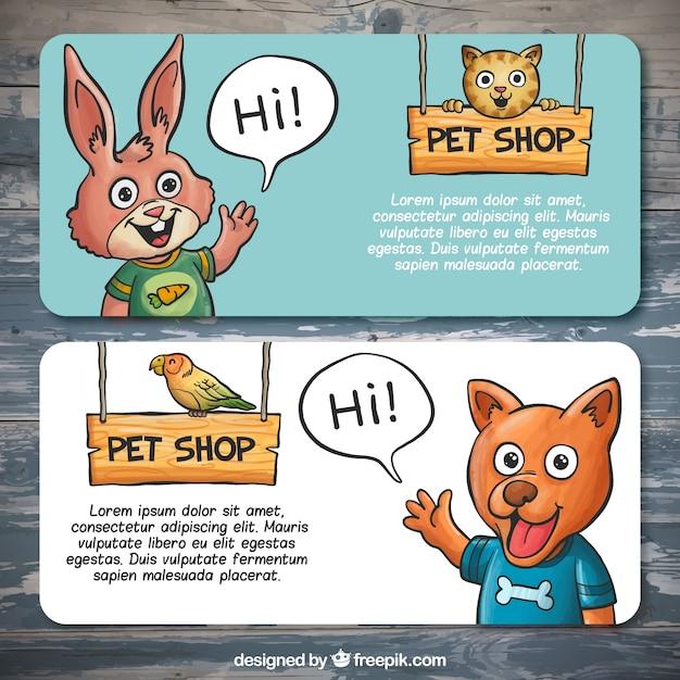 Banners met lachende huisdieren Gratis Vector