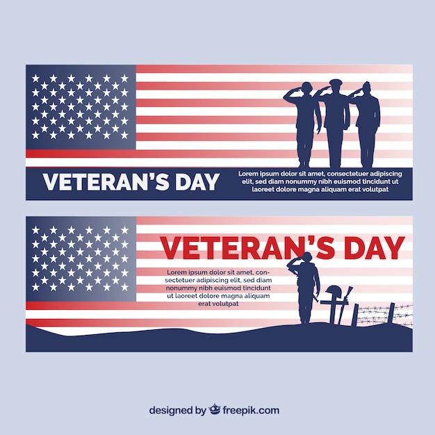 Banners met soldaten uit de verenigde staten voor veteranendag Gratis Vector
