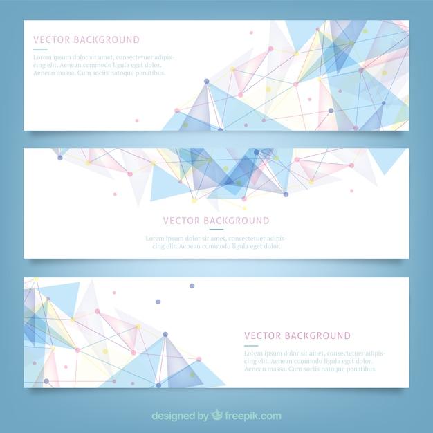 Banners met veelhoekige ontwerp Gratis Vector