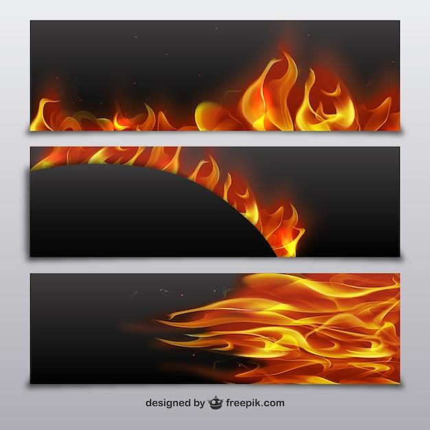 banners met vuur vlammen vector gratis download. Black Bedroom Furniture Sets. Home Design Ideas