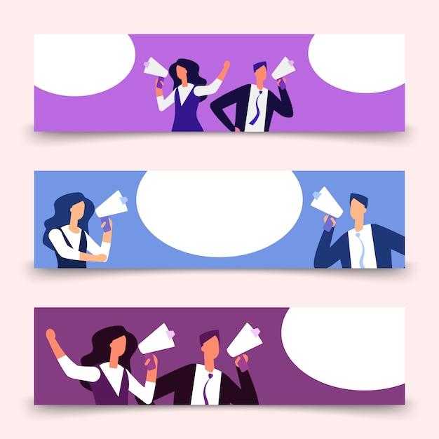 Banners sjabloon met vrouw en man met megafoon Premium Vector