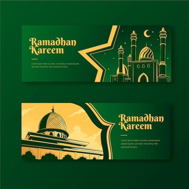Banners tekenen met ramadan thema Gratis Vector