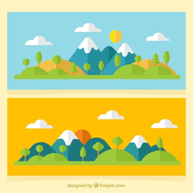 Banners van berglandschappen in plat design Premium Vector