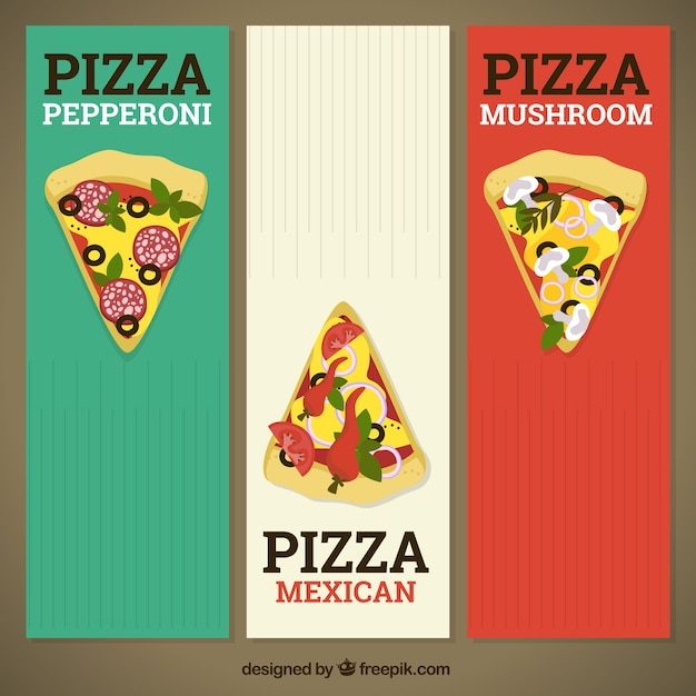 Banners van kleuren italiaanse vlag met pizza stukken | Gratis Vector