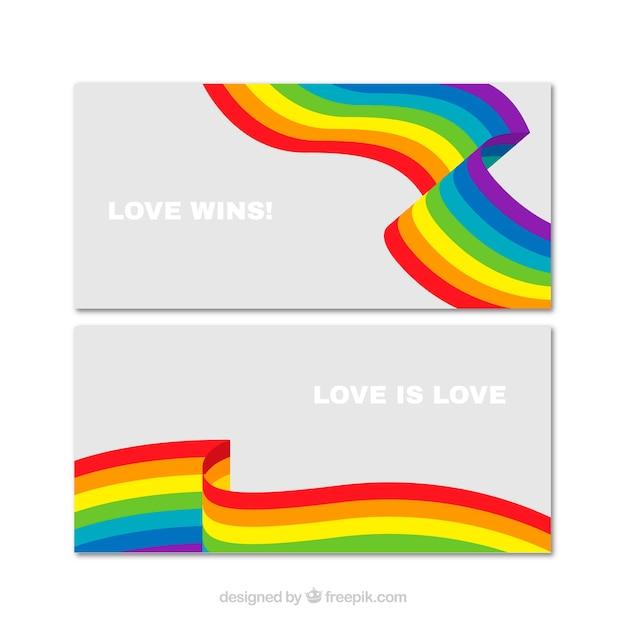 Banners van kleurrijke dag trots golven Gratis Vector