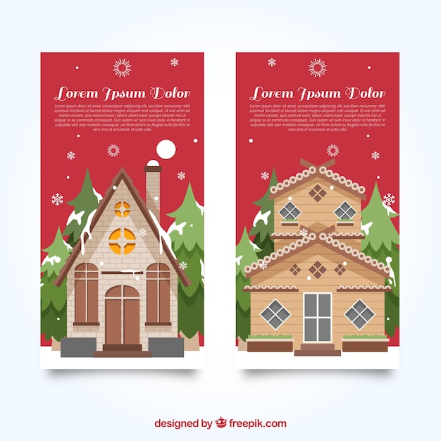 Banners van mooie kerst woningen in plat design Gratis Vector