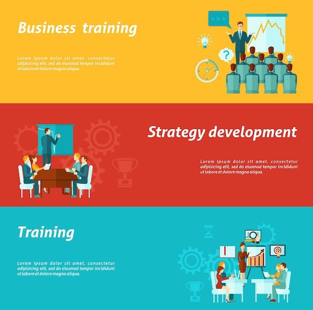 Banners voor bedrijfsopleidingen Gratis Vector