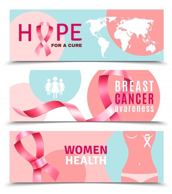 Banners voor borstkanker Gratis Vector