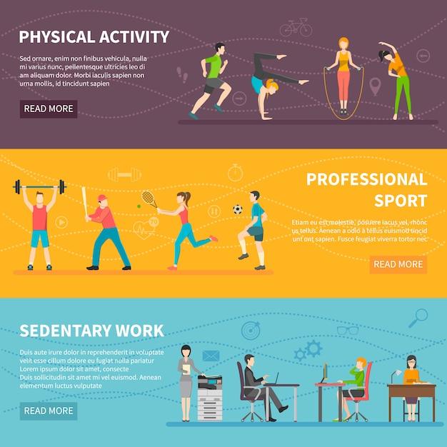 Banners voor fysieke activiteit Gratis Vector