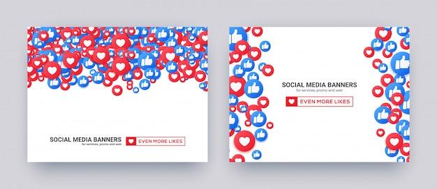 Banners voor sociale media met soortgelijke harten en duim omhoog pictogrammen. Premium Vector