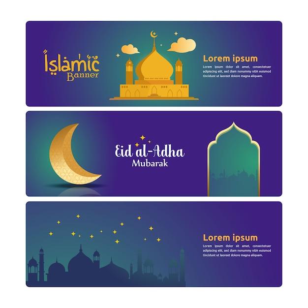 Bannersjablonen voor islamitisch thema Premium Vector