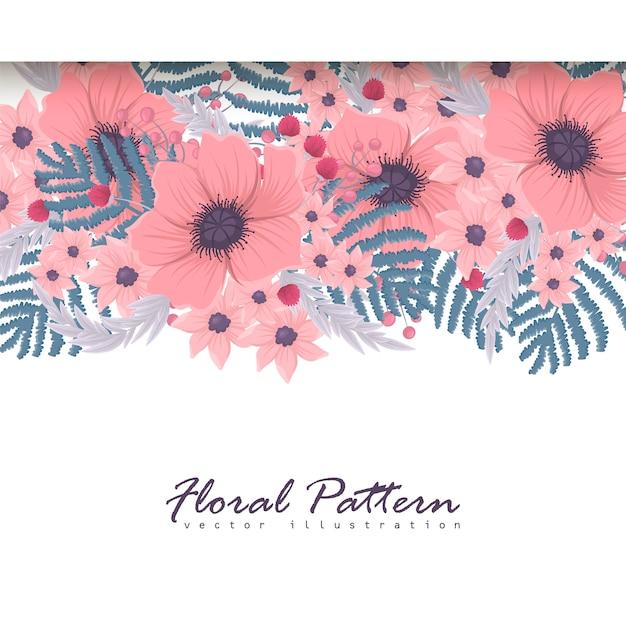 Bannersjabloon. mooie bloemen. wenskaart. frame. Premium Vector