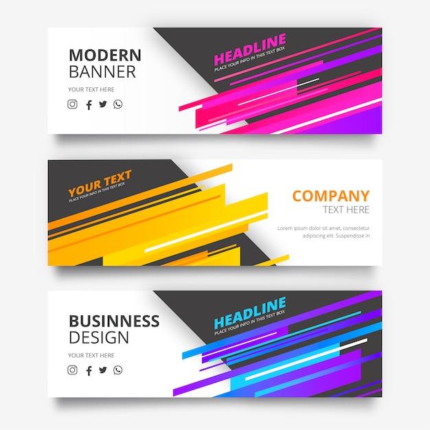 Bannerverzameling met moderne vormen Gratis Vector