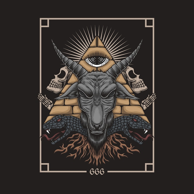 Baphomet satanic Premium Vector