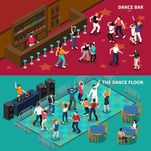 Bar dance floor 2 isometrische banners Gratis Vector