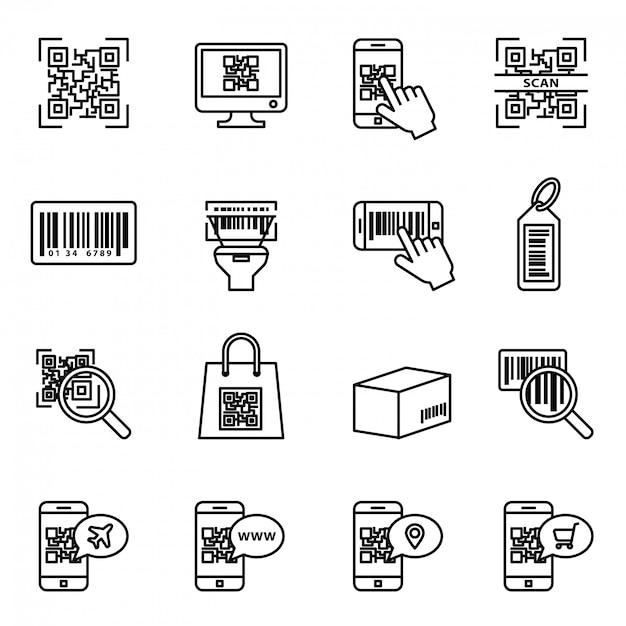 Bar en qr code scannen icon set. computerproductonderzoek met behulp van een scanner, prijsinformatie. Premium Vector