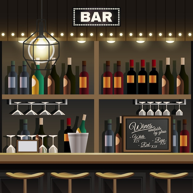 Bar interieur realistisch Gratis Vector