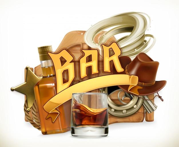 Bar logo. westerse retrostijl. 3d embleem Premium Vector