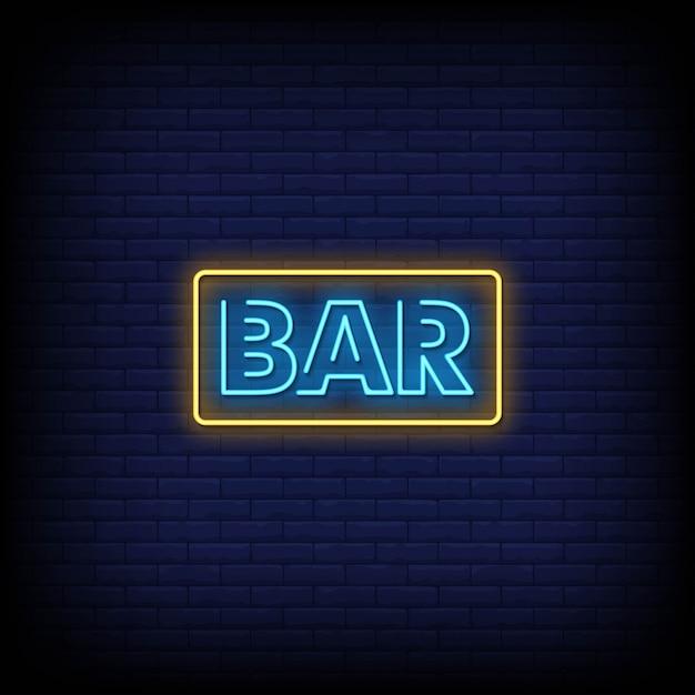 Bar neon signs style tekst Premium Vector
