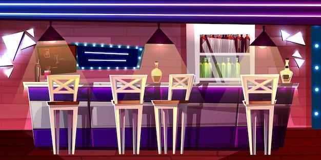 Bar of bar tegenillustratie in nachtclub of hotelbinnenlandbeeldverhaal Gratis Vector