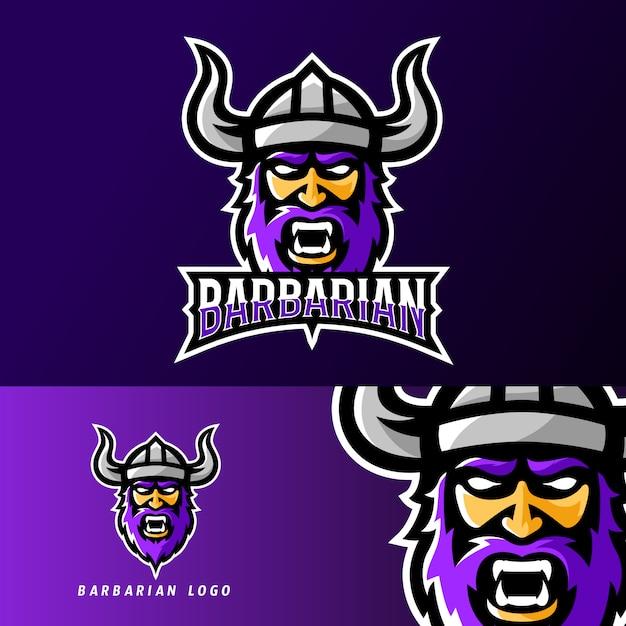 Barbaarse viking sport of esport gaming mascotte logo sjabloon Premium Vector