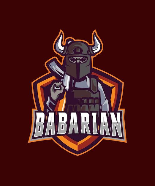 Barbarian e sports-logo Premium Vector