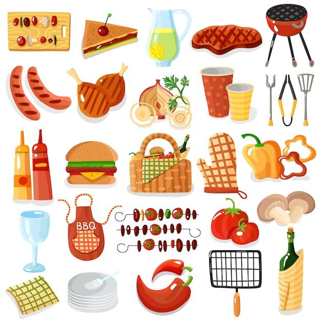 Barbecue-accessoires stijlvolle iconen collectie Gratis Vector