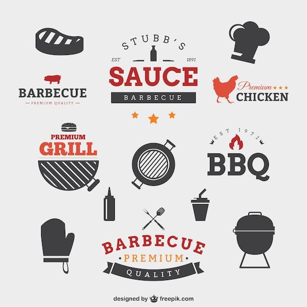 Barbecue badges Gratis Vector