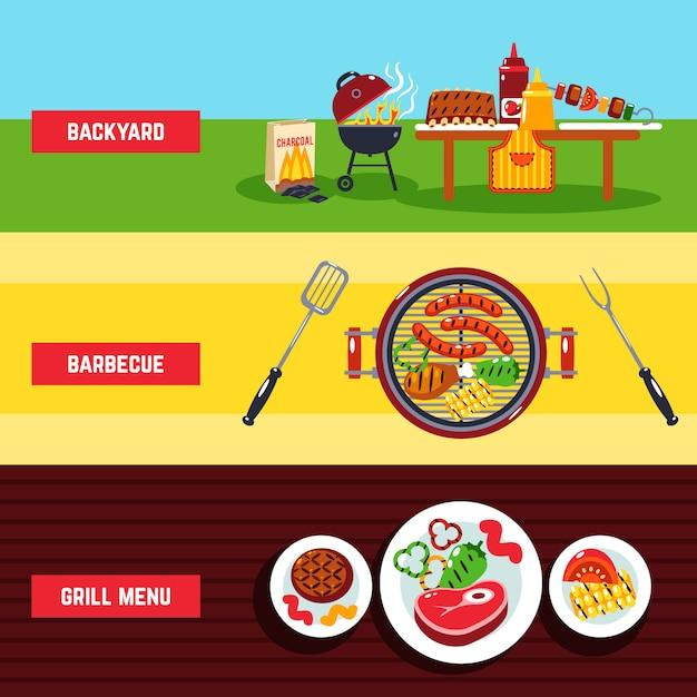 Barbecue-bannerset Gratis Vector