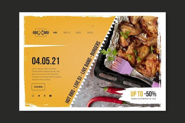Barbecue-bestemmingspagina-sjabloon Gratis Vector